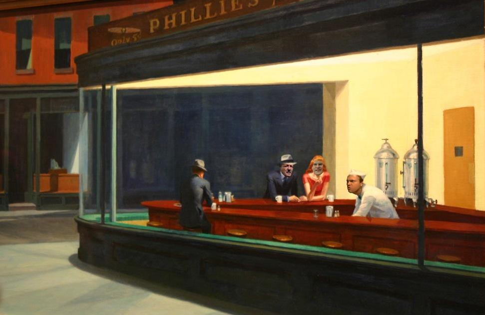 "Edward Hopper - ""Nighthawks at the Viet-Haus"" (1942, Art Institute of Chicago)"