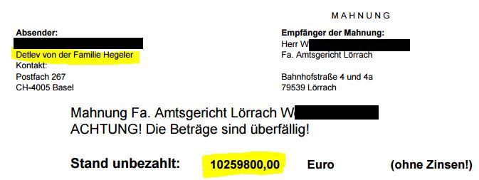 Detlev Hegeler verlangt 10259800,00 Euro